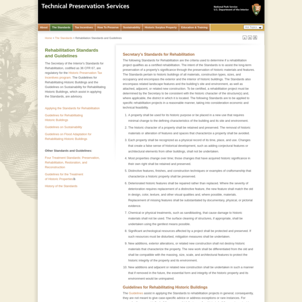 Rehabilitation Standards and Guidelines-Technical Preservation Services, National Park Service