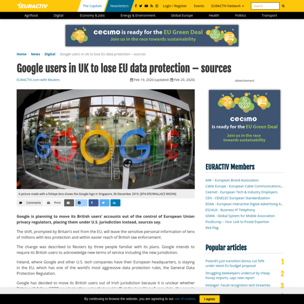 Google users in UK to lose EU data protection - sources