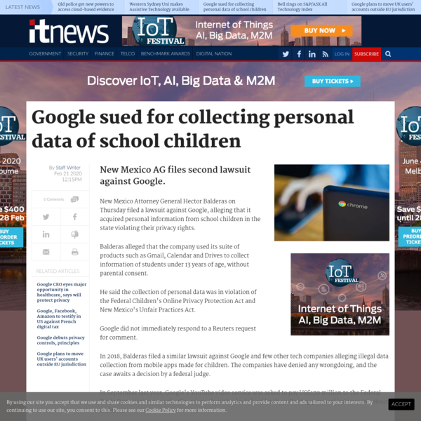 Google sued for collecting personal data of school children