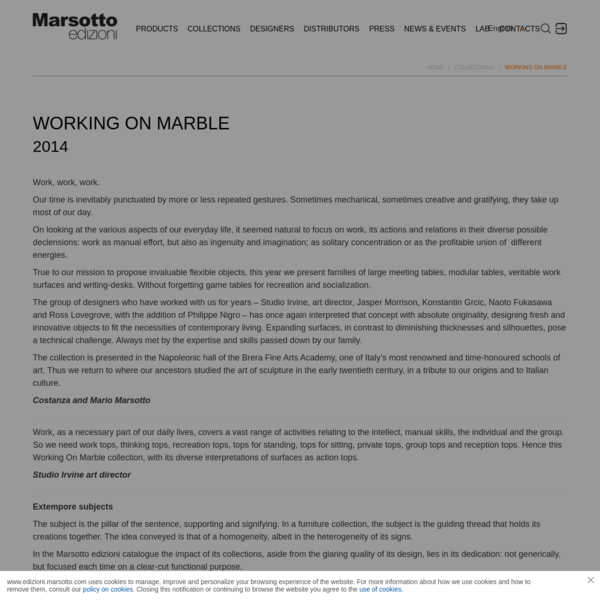 Marble furniture collection 'Working on marble' | Collections