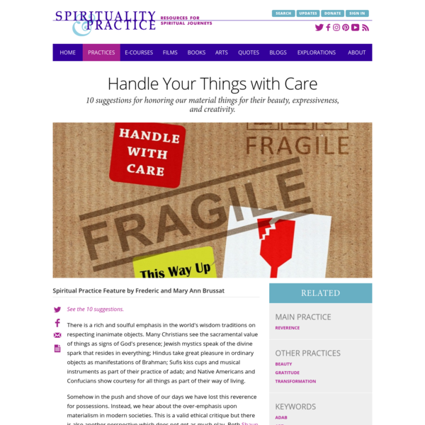 Handle Your Things with Care | Spiritual Practices for Everyday Life | Spirituality & Practice