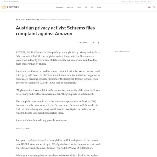 Austrian privacy activist Schrems files complaint against Amazon