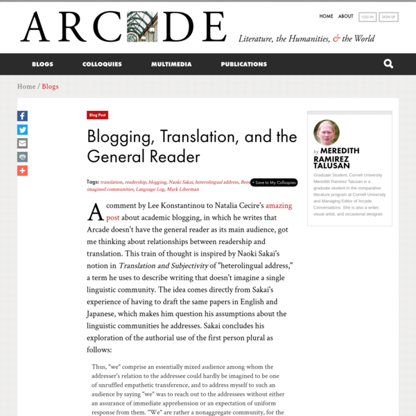 Blogging, Translation, and the General Reader