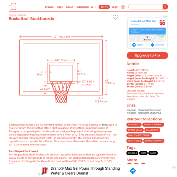 Basketball Backboards Dimensions & Drawings | Dimensions.Guide