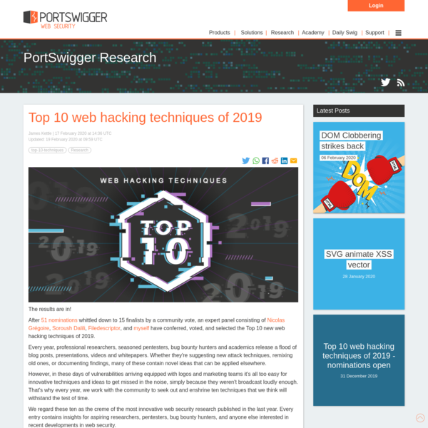 Top 10 web hacking techniques of 2019