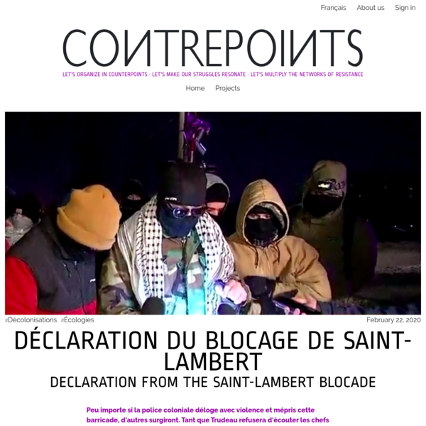 DÉCLARATION DU BLOCAGE DE SAINT-LAMBERT DECLARATION FROM THE SAINT-LAMBERT BLOCADE | Contrepoints