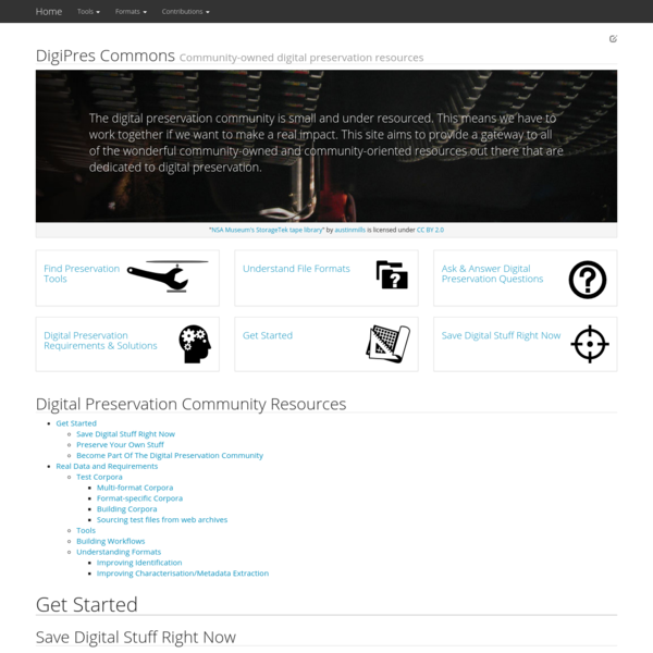 DigiPres Commons Community-owned digital preservation resources