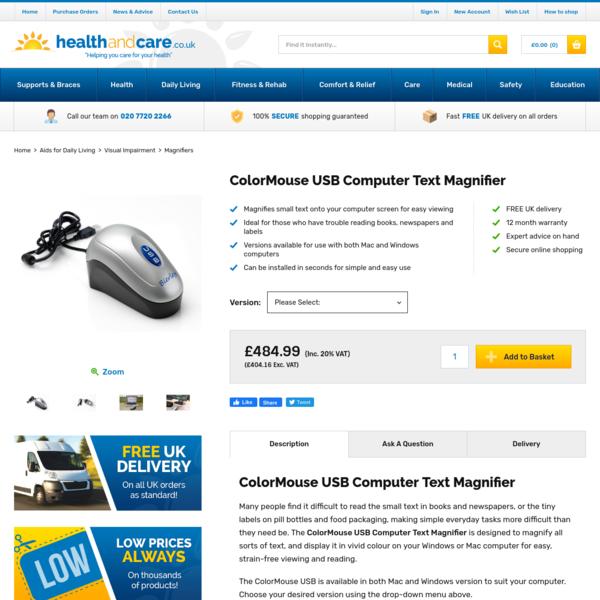 ColorMouse USB Computer Text Magnifier