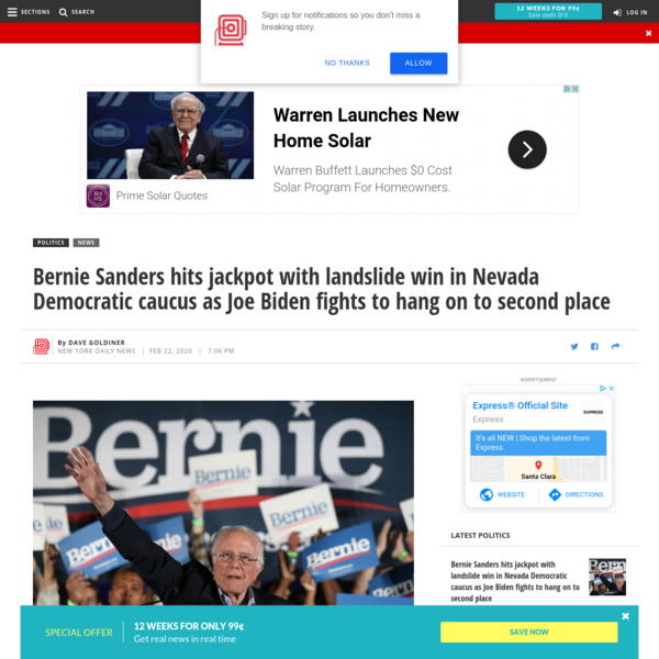 Bernie Sanders hits jackpot with landslide win in Nevada Democratic caucus as Joe Biden fights to hang on to second place