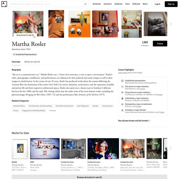 Martha Rosler - 39 Artworks, Bio & Shows on Artsy