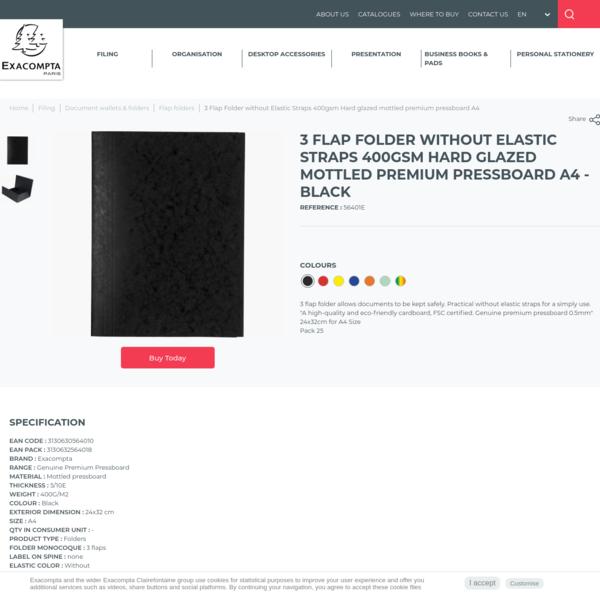 Exacompta - Chemise simple sans élastique avec 3 rabats carte lustrée 400gm² - A4