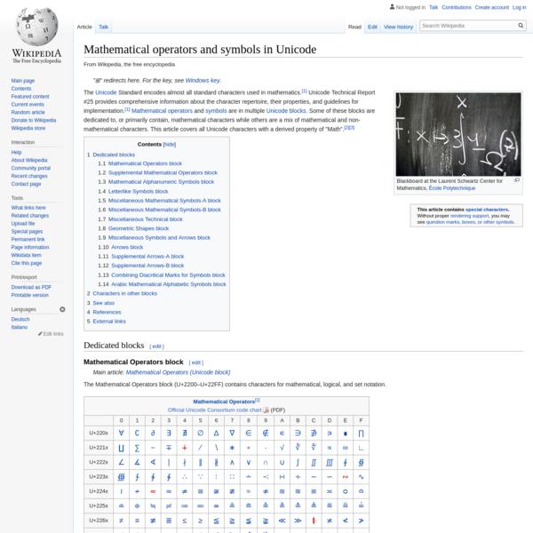 Mathematical operators and symbols in Unicode