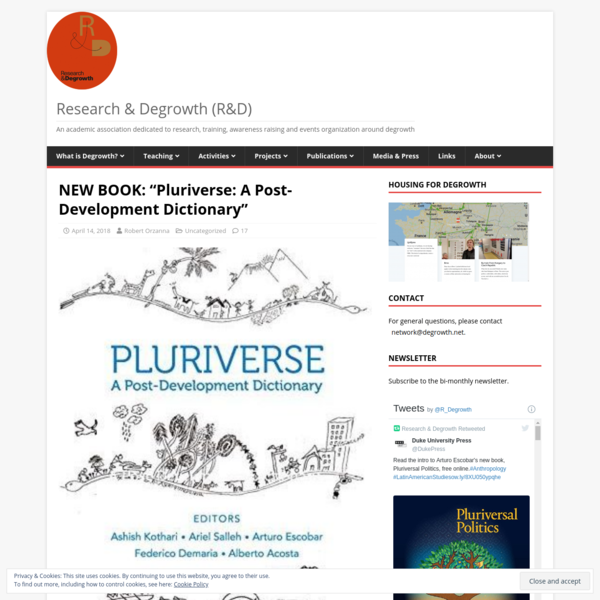 """NEW BOOK: """"Pluriverse: A Post-Development Dictionary"""" - Research & Degrowth (R&D)"""