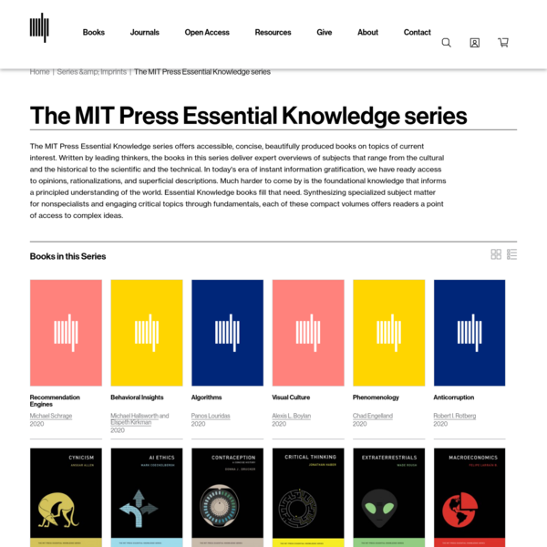 The MIT Press Essential Knowledge series