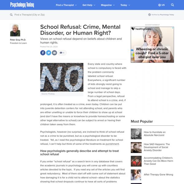 School Refusal: Crime, Mental Disorder, or Human Right?