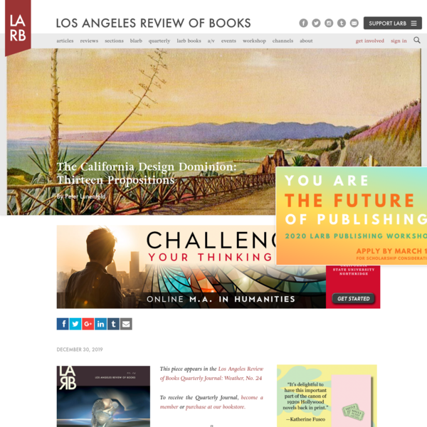 The California Design Dominion: Thirteen Propositions - Los Angeles Review of Books