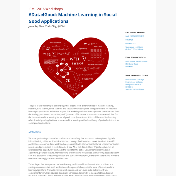 Data4Good: Machine Learning in Social Good Applications