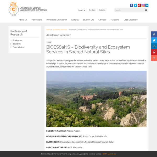 BIOESSaNS - Biodiversity and Ecosystem Services in Sacred Natural Sites - UNISG - University of Gastronomic Sciences