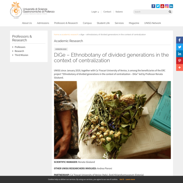 DiGe - Ethnobotany of divided generations in the context of centralization - UNISG - University of Gastronomic Sciences