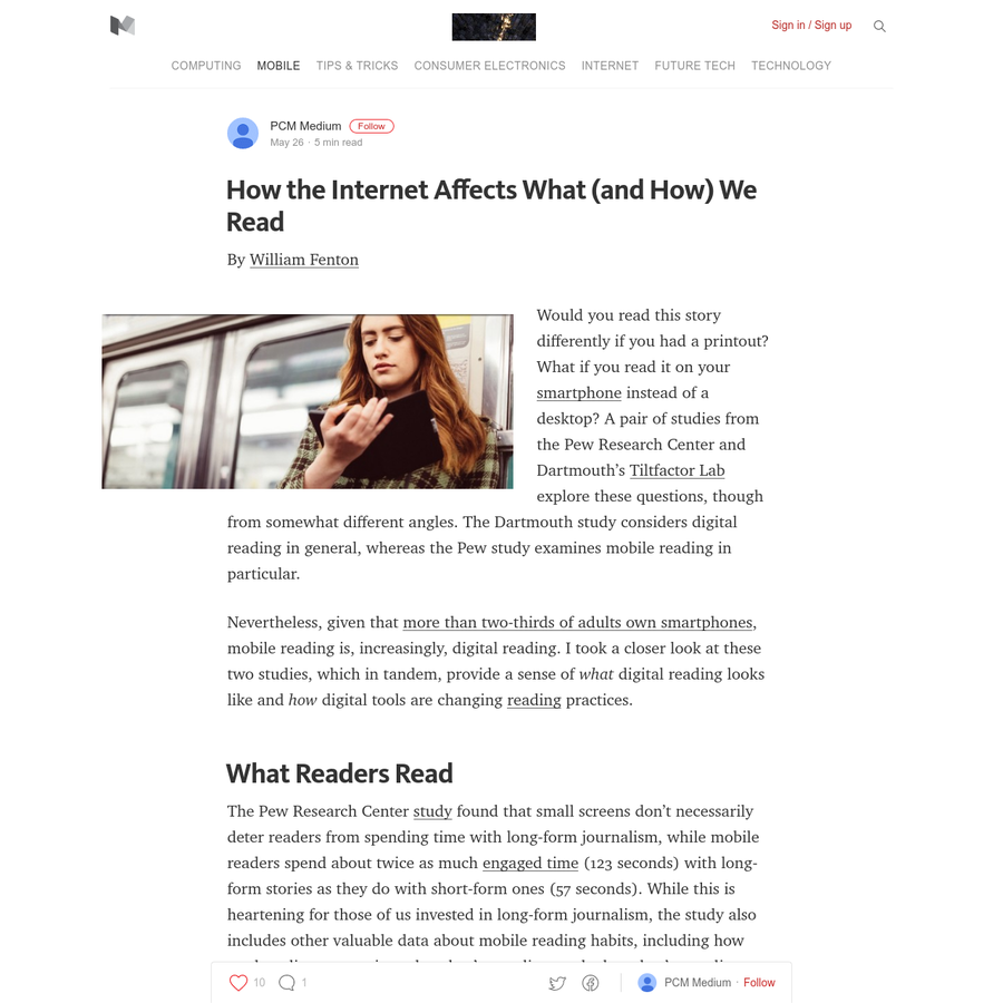 By William Fenton Would you read this story differently if you had a printout? What if you read it on your smartphone instead of a desktop? A pair of studies from the Pew Research Center and Dartmouth's Tiltfactor Lab explore these questions, though from somewhat different angles.