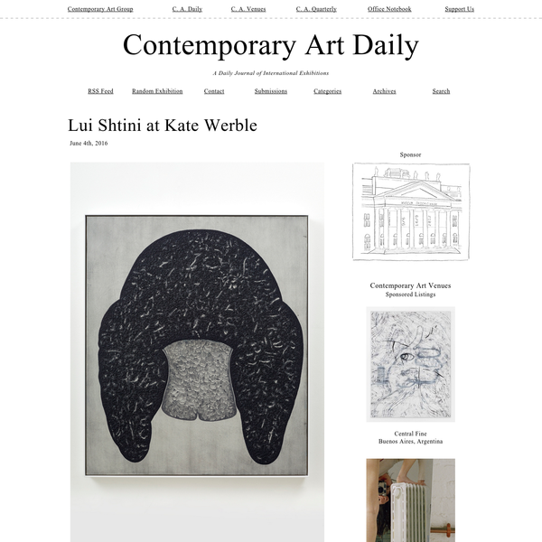 June 4th, 2016 Artist: Lui Shtini Venue: Kate Werble, New York Exhibition Title: Jinn Skin Date: April 23 - June 4, 2016 Click here to view slideshow Full gallery of images, press release and link available after the jump.