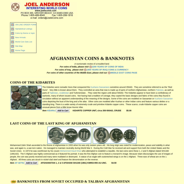 Historic Afghanistan Coins and Banknotes