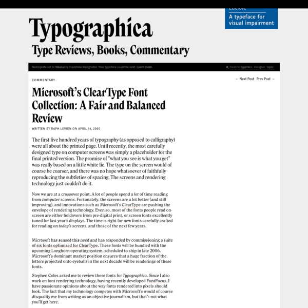 Microsoft's ClearType Font Collection: A Fair and Balanced Review