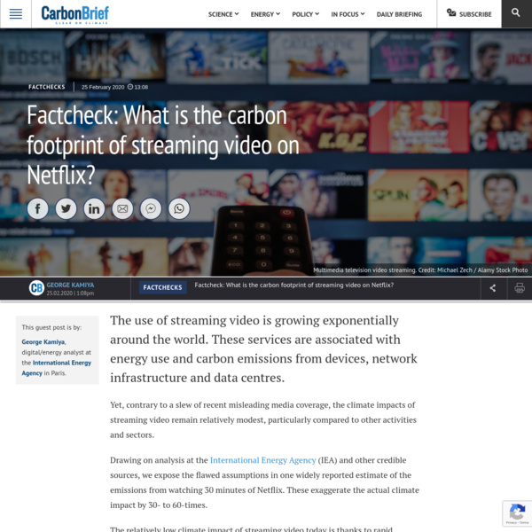 Factcheck: What is the carbon footprint of streaming video on Netflix? | Carbon Brief