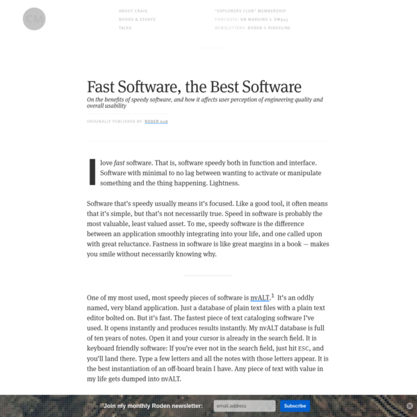 Fast Software, the Best Software