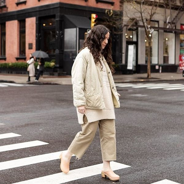 Leah of @wolhide in vintage khakis from the shop. I like how she gave these a raw hem and paired it with other cream layers....