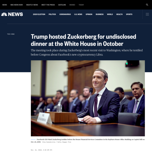 Trump hosted Zuckerberg for undisclosed dinner at the White House in October