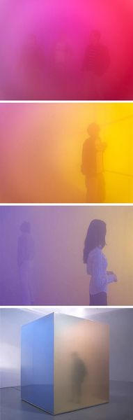 Artist Ann Veronica Janssens constructs sensorial sculptures of polycarbonate walls covered by transparent films which are filled with dense…