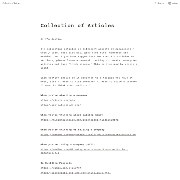 Collection of Articles