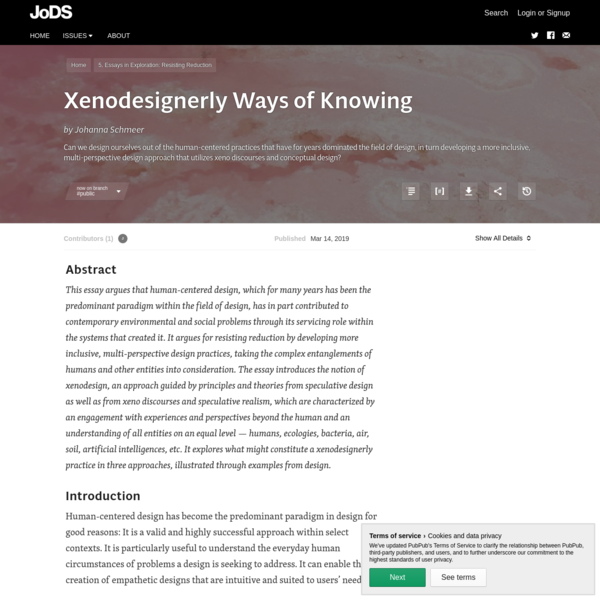 Xenodesignerly Ways of Knowing · Journal of Design and Science