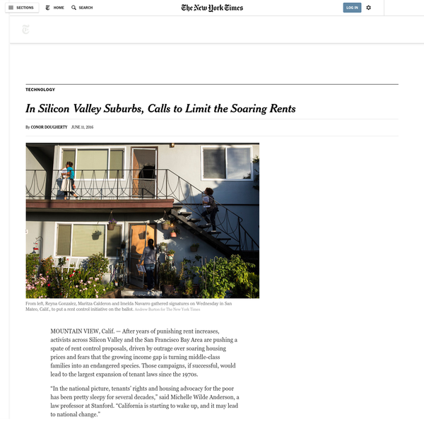 """""""The solution to the overall increase in housing prices in this area is bringing supply and demand into better balance,"""" said Leonard Siegel, a city councilman in Mountain View, where Google has its headquarters. """"But until we get there - which means we need time to build housing - we keep losing people, and the fabric of our community is being torn apart."""""""