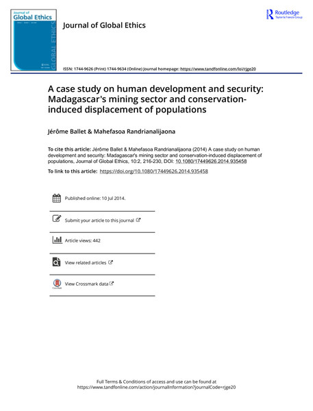 A case study on human development and security: Madagascar's mining sector and conservation- induced displacement of populations