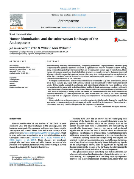 Human bioturbation, and the subterranean landscape of the Anthropocene