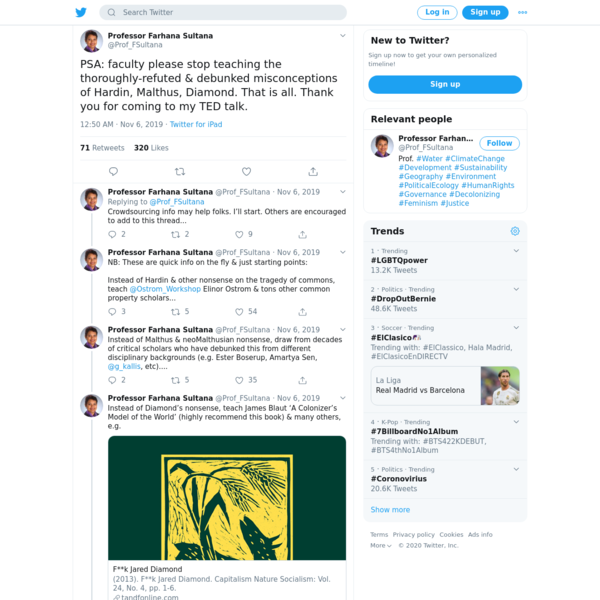 Professor Farhana Sultana on Twitter