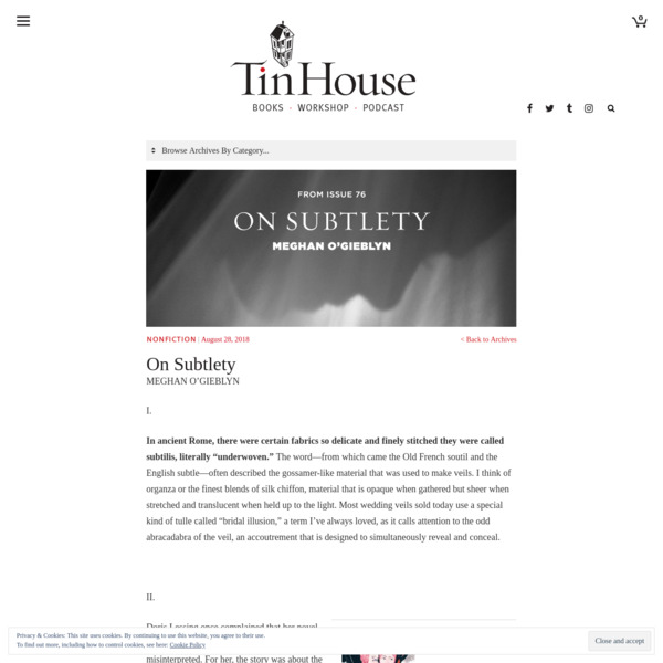 On Subtlety | Tin House
