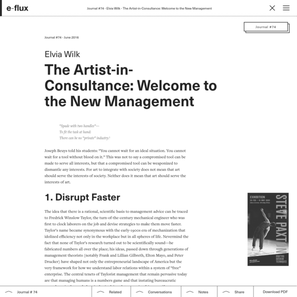 The Artist-in-Consultance: Welcome to the New Management