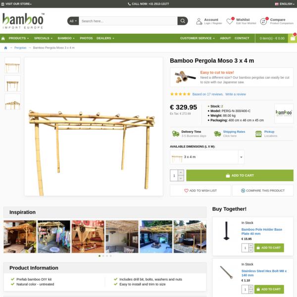 Bamboo Pergola Moso 3 x 4 m