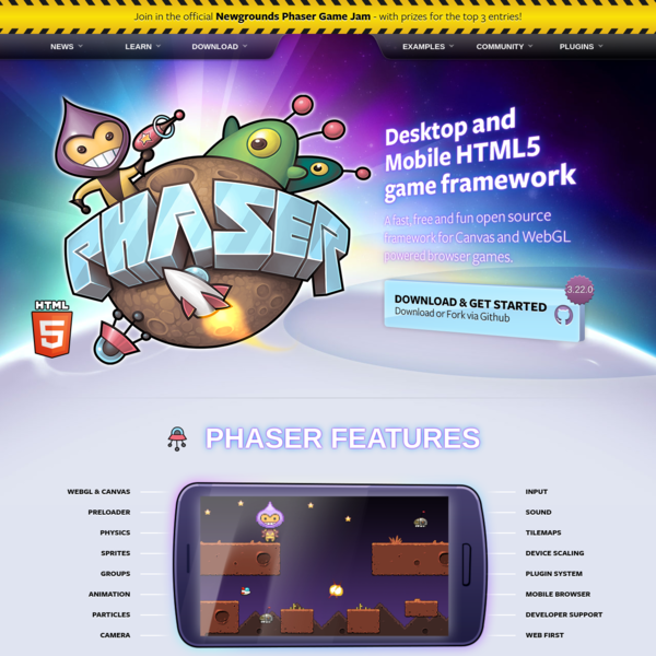 Phaser - A fast, fun and free open source HTML5 game framework