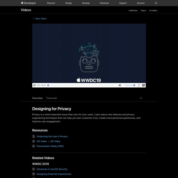 Designing for Privacy - WWDC 2019 - Videos - Apple Developer