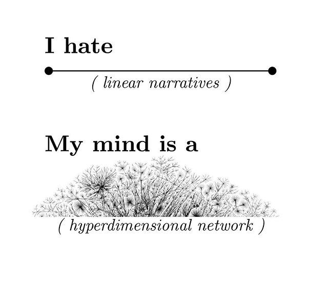 I hate linear narratives. My life, and mind, is made of hyper dimensional networks.