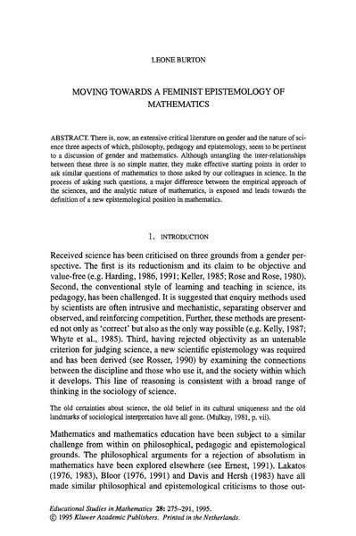 feminist epistemology of mathematics