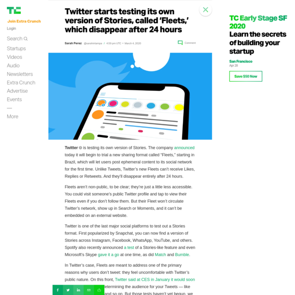Twitter starts testing its own version of Stories, called 'Fleets,' which disappear after 24 hours - TechCrunch