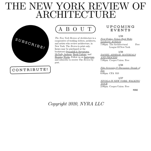 The New York Review of Architecture
