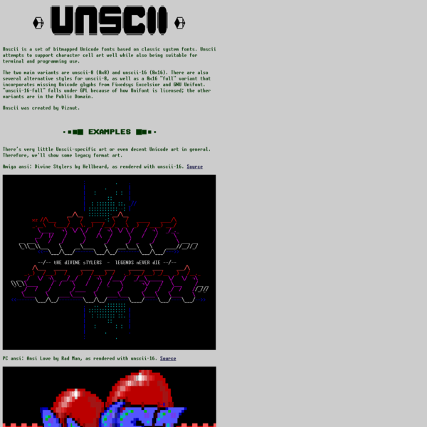 Unscii - a bitmapped Unicode font for blocky graphics