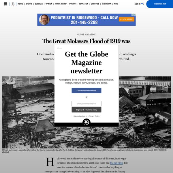 The Great Molasses Flood of 1919 was Boston's strangest disaster - The Boston Globe