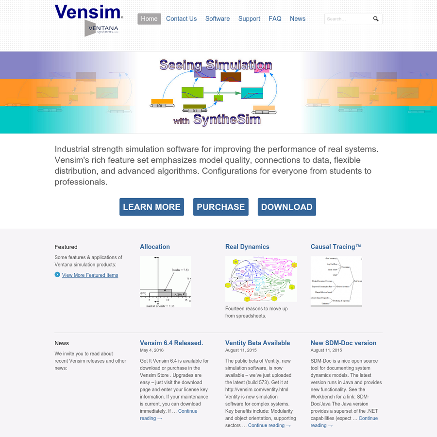 The public beta of Ventity, new simulation software, is now available - we've just uploaded the latest (build 573). Get it at http://vensim.com/ventity.html Ventity is new simulation software for complex systems. Key benefits include: Modularity and object orientation, supporting sectors ... Continue reading →